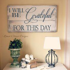 "Aimee Weaver Designs — Barn wood sign ""I will be grateful"""