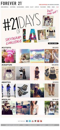 Instagram + Hashtag + Contest Email Newsletter Design, Newsletter Ideas, Web Design, Graphic Design, Email Design Inspiration, Email Marketing, Forever 21, Social Media, Instagram Hashtag