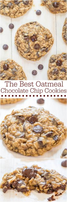 The Best Oatmeal Chocolate Chip Cookies - Soft, chewy, loaded with chocolate, and they turn out perfectly every time! Totally irresistible and your holiday guests will love them! Just Desserts, Delicious Desserts, Dessert Recipes, Yummy Food, Fall Cookie Recipes, Cake Recipes, Oatmeal Cookie Recipes, Slaw Recipes, Dessert Ideas
