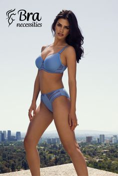 Fantasie's best-selling lightweight and breathable spacer molded collection returns in Denim Blue.  Rebecca offers a natural shape and uplift finished with geometric embroidery detailing and soft satin bows.