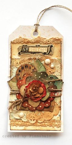 Mixed-media art, art journaling and scrapbooking by polish artist and teacher Anna Dabrowska aka Finnabair. Altered Books, Card Tags, Gift Tags, Handmade Tags, Paper Tags, Vintage Tags, Artist Trading Cards, Christmas Tag, Cool Ideas