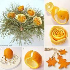 Decorazioni con le bucce di arance e mandarini
