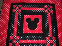 Red and Black Polka Dot Mickey Mouse Baby Quilt , $45.00