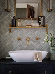 Vessel Sink Brass wall mount faucet vintage
