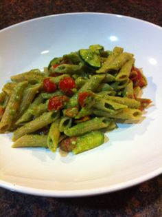 Joy's Pesto Pasta: This recipe is a big hit with my family. I use broth instead of olive oil to cut calories, without sacrificing flavor. This recipe comes straight from my Slim & Scrumptious cookbook. Enjoy 2.5 cups for only 435 calories!