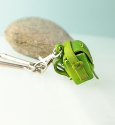 Tiny bag leather keychain keyring keyfob keyholder от secondstudio