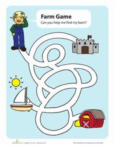 Farm Maze Worksheet