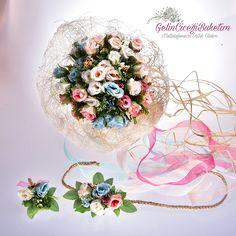 Mavi Somon Pembe Küçük Güller Gelin Çiçeği Buketi Gelin Tacı Damat Yaka Çiçeği (3'lü Set)