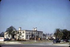 """They took the idols and smashed them, the Fairbankses, the Gilberts, the Valentinos""! Well they smashed houses too! This was Norma Desmond's mansion in Sunset Boulevard. Its address was 641 S. Irving Blvd. and was looking towards the NW corner of Wilshire/Irving Blvd. It was demolished in 1957.  (photo: Palmer Conner Coll./Hunt. Lib)"