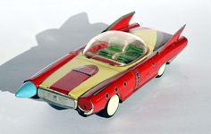 Rare 1950's Meiko Shoji Japan Space Car Tin Friction Litho Vintage Space Toys