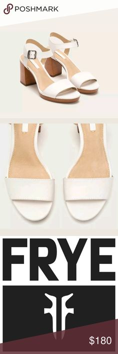 """Frye Leather Sandal, Block Heel Brand New in box! Gorgeous summer walking heels!  """"Blake 2 Piece"""" Creamy white  100% Leather Imported Leather and Rubber sole Heel measures approximately 3 inches"""" Two-piece leather sandal featuring stacked wood at heel and platform Antiqued buckle at ankle Lightly padded footbed Frye Shoes Sandals"""