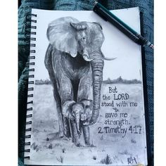 and baby elephant graphite drawing with bible verse 2 Timothy Bible Verse Painting, Bible Art, Painting Art, Bible Verse Tattoos, Bible Verses Quotes, Scriptures, 2 Timothy 4, Timothy Bible, Verses For Kids