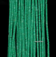 2MM  TURQUOISE GEMSTONE GREEN ROUND TUBE HEISHI 2MM LOOSE BEADS 12.5/""