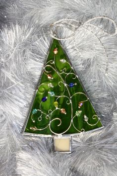 fa41f51def8f79 Beautiful handmade stained glass Christmas tree ornament to your own tree  or small suncatcher for home