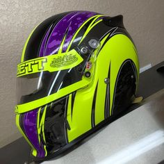 @tcollett31x new helmet wrapped up with tons of fluorescent yellow and rear carbon fiber wrapped wing! by razoredge_graphics