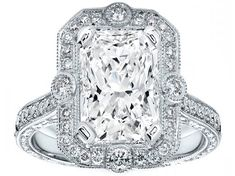 Radiant Cut Diamond Halo Vintage Engraved Engagement ring in 14K White Gold