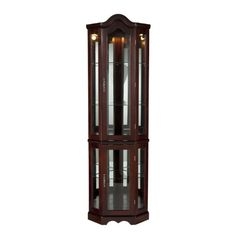 Southern Enterprises Lighted Corner Curio Cabinet In Rich Mahogany Finish Corner Display Cabinet, Corner Curio, Display Cabinets, Bedroom Furniture Redo, Kitchen Furniture, Garden Furniture, Furniture Design, Kitchen Pantry Cabinets, Curio Cabinets