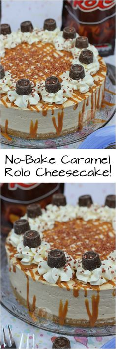No-Bake Caramel Rolo Cheesecake! ❤️ Caramel Rolo Cheesecake filling on top of a delicious buttery biscuit base drizzled with an extra bit of caramel! No Bake Desserts, Just Desserts, Delicious Desserts, Dessert Recipes, Dessert Ideas, Rolo Cheesecake, Baked Cheesecake Recipe, Cinnamon Cheesecake, Janes Patisserie