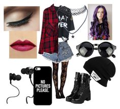 """""""grunge,hipster"""" by unicorn-melody ❤ liked on Polyvore featuring Pretty Polly, yeswalker, Vans, Casetify, Monster, Wet Seal, women's clothing, women, female and woman"""