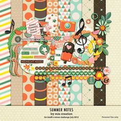 Sun and colorful summer inspired Free digital scrapbooking mini kit Summer Notes from Miu Creations