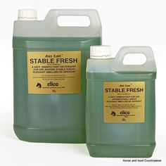 Gold Label Stable Fresh Pleasant smelling safe pine disinfectant and re-odorant for general use around the yard Can be sprinkled undiluted on beds to deter horses from eating straw.