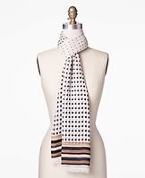 """Dotted Degrade Scarf - Timeless polka dots add infinite charm to this softly-textured scarf, bordered in eye-catching bands of color for a pop of fresh femininity. 44"""" x 76""""."""