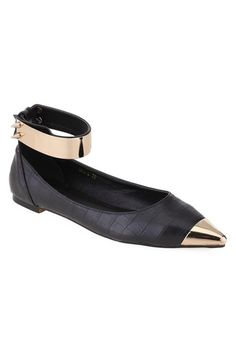 Point Metallic Toes Black Flat Shoes