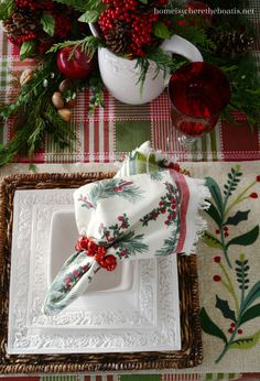 At the Table: Christmas with Pfaltzgraff Country Cupboard. Red and green checks, berry and pine cone topiaries and sprigs of greenery add to the mix~ all fitting for a Country Cupboard Christmas! Christmas Lodge, Tartan Christmas, Christmas Kitchen, Country Christmas, Christmas Time, Xmas, Nordic Christmas, Modern Christmas, Christmas Colors