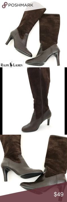 """Ralph Lauren Suede Leather Knee High Boots Brand: Ralph Lauren  Style: Bryce  Size:9.5 B  Heel Height:3.5""""  Boot Shaft: 16.5""""  Circumference: 7.5"""" (elastic at Calf for added comfort)   Condition: Pre Owned Boots, In Good Shape. Has Some Scuffing- Shown in Photos  Rubber Soles. Suede Leather Upper. Clean Insoles   Original Box/Dust Bag is Not Included Ralph Lauren Shoes Heeled Boots"""