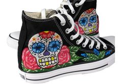 Look Lisa - I found some shoes for you!! Hand painted Converse Chuck Taylor
