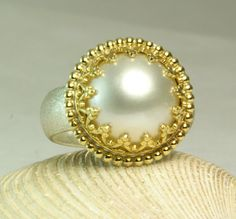 Mabe Pearl Ring Sterling Silver Solid 14k by TazziesCustomJewelry