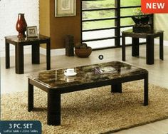 Carson Contemporary Style Faux Marble Coffee Table Set with Dark Cherry Wood Finish Legs Marble Coffee Table Set, Granite Coffee Table, 3 Piece Coffee Table Set, Black Coffee Tables, White Side Tables, White Coffee, Pc Table, End Table Sets, Glass Dining Table