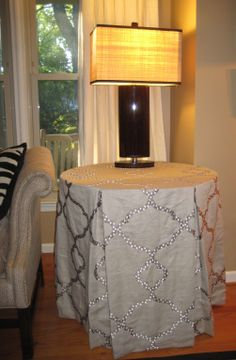 Box Pleated Fabric Table Cloth With Square Nailhead Border