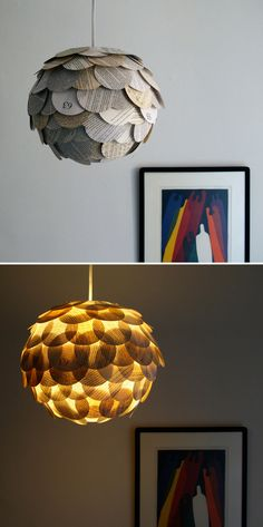 The original artichoke book page light, this fun pendant lamp shade is created by applying circular pieces from assorted Paperback books to a round paper lantern. The lantern is approximately 12 inches (30.5 cm) in diameter and includes pages from approximately 6 or 7 different books. Maximum light bulb recommended for this size paper lantern is a 60 watt bulb.