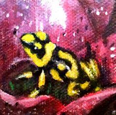 Yellow frog acrylic painting