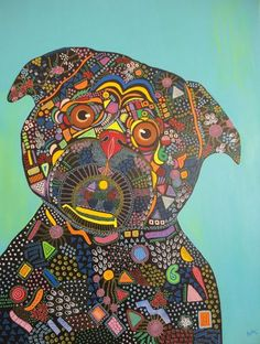 Dog Pop Art ! Large Painting on Canvas ! Dog Lovers Gift !!