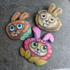 Bunny brooches (polymer clay)