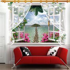 Chic 3D Window Sea Island Landscape Pattern Wall Sticker For Livingroom Bedroom Decoration
