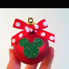 Minnie Mouse Christmas Ornament that I made for my daughter's Christmas tree Más Disney Christmas Crafts, Disney Christmas Decorations, Disney Crafts, Kids Christmas, Holiday Crafts, Christmas Balls, Xmas, Mickey Mouse Ornaments, Minnie Mouse Christmas