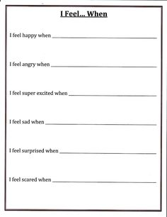 """I Feel"" Worksheet; Can be shared in small groups for children to see that everyone experiences emotions at different and/or similar times."
