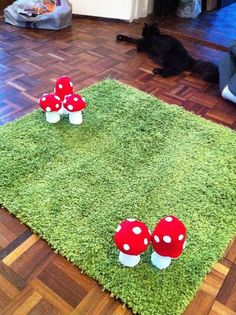 I like the idea of using a green rug for grass. why have I never thought of that? This would be perfect for a garden themed little girls room! Forest Bedroom, Fairy Bedroom, Girls Bedroom, Forest Nursery, Garden Nursery, Fairy Nursery Theme, Forest Theme Bedrooms, Whimsical Bedroom, Garden Bedroom