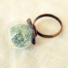 Blue Glitter Globe Ring by DearDelilahHandmade on Etsy