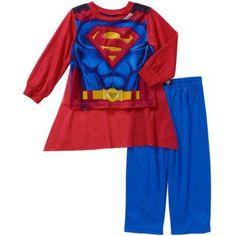 Superman Baby Toddler Boy Long Sleeve Pajama Sleepwear Set, Red