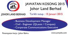 Jawatan Kosong Johor Land Berhad terkini 2015. #kerjakosongjohorlandberhad #jawatankosongjlandberhad #johorlandberhadjobs