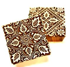 Two Piece Set Indian Wood Block Square Design FLoral Design For Print   catfluff - Craft Supplies on ArtFire