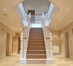 House Staircase, Curved Staircase, Stairs, Staircase Design Modern, Interior Design Your Home, Oak Handrail, Self Build Houses, Hallway Flooring, Newel Posts