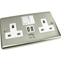 2 Way UK Wall Power Socket Faceplate with 2 x USB Charging Ports Brushed Chrome
