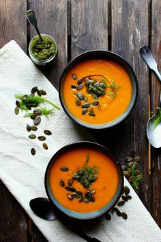 Roasted Pumpkin & Fennel Soup with Pumpkin Seed Pesto