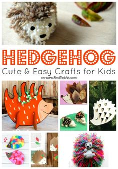 Cute Hedgehog Crafts for Kids. How to make a Hedgehog from Paper, wool etc. Hedgehog craft activities for Preschool. Hedgehog craft template and worksheets Autumn Activities For Kids, Animal Crafts For Kids, Fall Crafts For Kids, Animals For Kids, Art For Kids, Animal Activities, Kids Fun, Preschool Ideas, Toddler Crafts