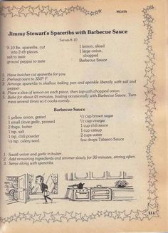 Jimmy Stewart's spare ribs and barbecue sauce Retro Recipes, Vintage Recipes, Cookbook Recipes, Cooking Recipes, Cooking Ideas, Barbecue Sauce Recipes, Bbq Sauces, Barbeque Sauce, Famous Recipe